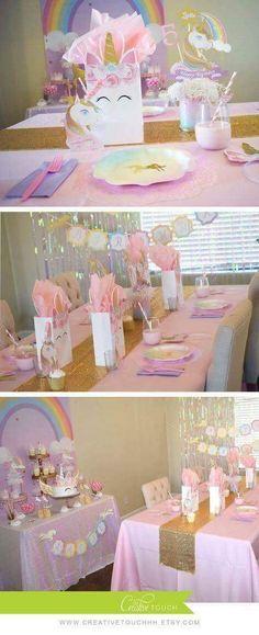 Festa do Unicórnio +de 200 Ideias para Sua Festa! Unicorn Themed Birthday Party, 10th Birthday Parties, Birthday Party Decorations, Birthday Ideas, 5th Birthday, Rainbow Decorations, Fete Emma, Pony Party, First Birthdays
