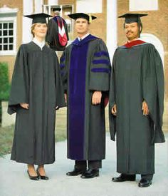"""3gowns.jpg (330×385) From left to right, an Bachelor degree graduate, a Doctoral degree graduate and a Masters degree graduate.  Leftovers from the bases of colleges and universities - garments once worn by men in various religious orders.  Yes, the university system was founded by the Catholic Church and the """"academic"""" gowns are remnants of religious habits,"""