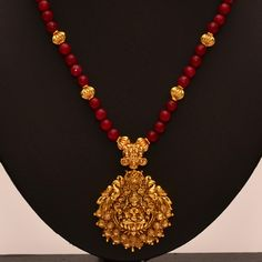 Shop Anvi's Lakshmi (temple Jewellery) Pendent With Ruby And Gold Beads by Anvi Collections online. Largest collection of Latest Necklaces online. Gold Jewellery Design, Bead Jewellery, Temple Jewellery, Pendant Jewelry, Beaded Jewelry, Silver Jewellery, Jewelry Shop, Kerala Jewellery, Quartz Jewelry