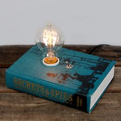 Book Lamp by Typewriter Boneyard. This is beautiful but I would shatter that light bulb in a flash if it was on my reading table.