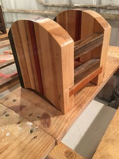Custom butcher block napkin holder made with exotic woods such as Padauk, Walnut, Cherry, Mahogany and many others. Made by Snhwoodworks LLC. Www.snhwoodworks.com