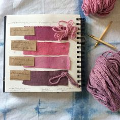 Cochineal swatch page & dyed wool. #saltandstillswatch
