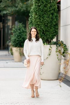Silk slip skirt and sweater | Midtown Magnolia Blog