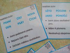 Tajemné slovo pro 2. ročník - kartičky s hádankami slov. Teacher, School, Professor, Teachers