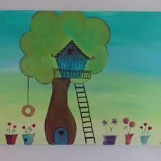"""Tableau  """"la petite cabane perchée"""" peinture acrylique"""