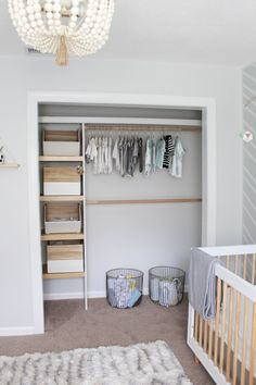 Home Project // Modern Gender Neutral Nursery - Within the Grove Tips on Decorating Your Baby Nurser Baby Nursery Closet, Baby Bedroom, Nursery Room, Baby Closets, Nursery Ideas, Handmade Shelving, Nursery Closet Organization, Organization Ideas, Baby Dresser Organization