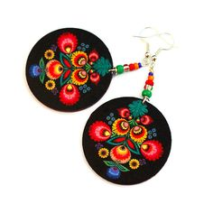 Folk Flowers polish folk art motif Earrings Round by MADEbyMADA