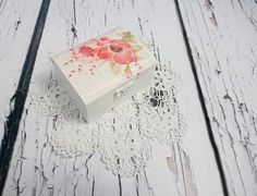 Decoupage romantic delicate spring flowers Wedding rings box, pillow rustic…