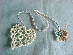 Tatted Aspen Cream Beaded Heart to Butterfly Bookmark by Dove Country Tatting.