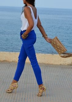 Electric blue #pants + white top + nude #accessories