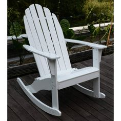Adirondack Rocking Chair Outside Patio Garden Deck Furniture Hard Wood White for sale online White Rocking Chairs, Adirondack Rocking Chair, Outdoor Rocking Chairs, Adirondack Chairs, Garden Furniture Sets, Deck Furniture, Garden Chairs, Paint Furniture, Office Furniture