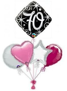 70th Elegant Sparkle Balloon King Birthday Age Balloons