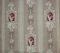 Red Cameos and White Flowers on Beige Vintage Wallpaper Victorian Wallpaper, Antique Wallpaper, Embroidery Transfers, Embroidery Designs, Modern Vintage Fashion, Decoupage Vintage, Textiles, Vintage Embroidery, Pattern Wallpaper