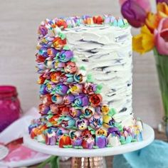 Pretty Cakes, Beautiful Cakes, Amazing Cakes, Decoration Patisserie, Dessert Decoration, Creative Cake Decorating, Creative Cakes, Frosting Flowers, Tall Cakes