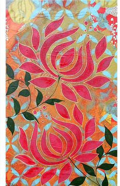 2 pink lotus flowers made with collage, spray paint and stencils. This print is archival. The is matted in a white mat. The prints are Fabric Painting, Painting & Drawing, Lotus Painting, Motif Oriental, Watercolor Flower, Madhubani Painting, Motif Floral, Art Graphique, Indian Art