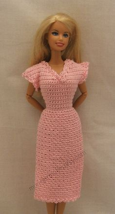 Crocheted Pink  dress fits Barbie