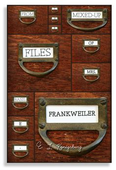 new cover: From the Mixed-Up Files of Mrs. Basil E. Frankweiler by E. L. Konigsburg.  My cover portrays the funky (and mixed-up) files of Lady Basil, combining my other love of card catalogs into some sort of dream cabinet that has various drawers of various sizes.