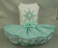 Dog dress.Crystal Snowflake by Poshdog. Tutu skirt.