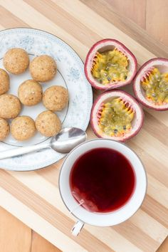 Passionfruit bliss balls served with herbal tea.