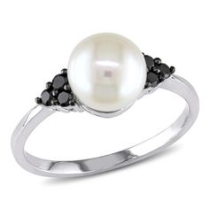 Miadora 10k Gold Pearl and 1/8ct TDW Black Diamond Ring