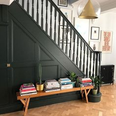 our darkest green, was the colour painted onto the original studio at Farrow & Ball, where many of our very first colours were created. When brushed on exterior surfaces, the rich pigments respond extraordinarily to all types of light and mag Victorian Hallway, Victorian Terrace House, Luxury Interior, Interior Design, Painted Staircases, Spiral Staircases, Hallway Colours, Flur Design, Hallway Inspiration