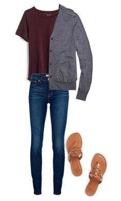"""""""School OOTD"""" by preppy-pearlgirl ❤ liked on Polyvore featuring Madewell, J Brand, Brooks Brothers, Tory Burch, women's clothing, women's fashion, women, female, woman and misses"""