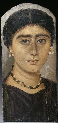 Portrait de momie féminin, v. 117-138, Rome antique (période), Antinoé -- peinture à l'encaustique, peinture sur bois