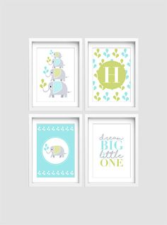 Nursery wall art, Set of 4 elephant prints, Baby Nursery print, Nursery decor, Baby name print, Baby name sign, Dream big little one print