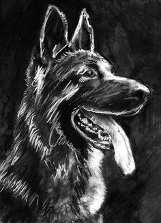 German Shepherd Gift, GSD drawing, Charcoal art portrait, Alsatian,dog gift, GSD picture ,dog wall art, German shepherd… #dogs #etsy #art