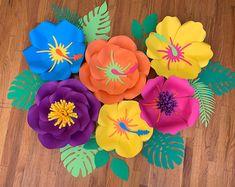 KraftyChicStudiollc on Etsy Paper Flower Decor, Flower Decorations, Paper Flowers, Leaf Flowers, All Flowers, Luau Birthday, Luau Party, Backdrops, Birthdays