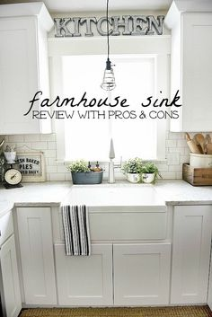 White kitchen with farmhouse sink farmhouse sink pros cons a must read before getting a farmhouse Kitchen Sink Design, Kitchen Redo, Home Decor Kitchen, New Kitchen, Kitchen Dining, Kitchen Ideas, Kitchen Counters, Over The Kitchen Sink Decor, Farm Sink Kitchen
