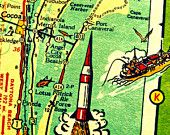 ST PETERSBURG vintage beach map print 8x10 Florida art gulf of Mexico ocean coastal fish yellow red aqua sailboats Treasure Island picture. $22.00, via Etsy.