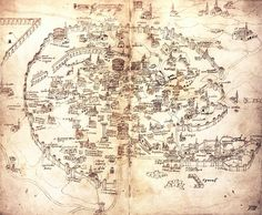 Handmade map of Rome by Alessandro Strozzi, 1474.
