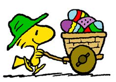 """Happy Easter! (no words - """"Woodstock - Easter Egg Delivery"""") --Peanuts Gang/Woodstock"""