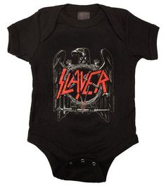 Slayer baby one piece for your little one features the classic Eagle design. Baby bodysuit is 100% cotton and machine washable. Check out our Metallica kids clothes and other heavy metal baby clothes!