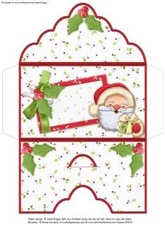 BLANK CHRISTMAS MONEY WALLET ENVELOPE Santa Hugs on Craftsuprint designed by Janet Briggs - Christmas money wallet or gift voucher holder, featuring cute Santa with gift.Sentiment tag on the front is left blank for your own greeting.NOTE This is also available with a Merry Christmas, To and From tag on the front cup380587_68  - Now available for download!