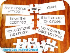 Conjunction puzzles. Students use the conjunctions and, or, but, so, because to complete different sentence puzzles. Great way to practice using conjunctions!