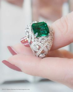 Gemfields Zambian Emerald and Diamond Ring by Fabergé