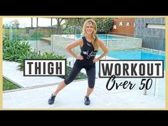 5 minute slimming thigh indoor workout low impact, home workout, thigh workout, inner thigh workout, mature women over 50 to create thigh gap and strengthen . Thigh Toning Exercises, Leg Day Workouts, Exercise Cardio, Walking Exercise, Boxing Workout, Excercise, Reduce Thighs, Indoor Workout, Lose Thigh Fat