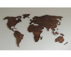 Hölzerne 3D-Weltkarte XL, schwebend an der Wand