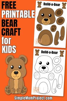 Click and get the free printable woodland bear template to make this cute, forest bear craft for kids of all ages, including preschoolers and toddlers! #bearcrafts #papercrafts Forest Animal Crafts, Animal Crafts For Kids, Crafts For Kids To Make, Easy Preschool Crafts, Fall Preschool, Toddler Crafts, Raccoon Craft, Teddy Bear Crafts, Bear Template