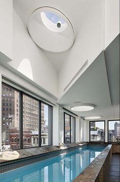 Rooftop indoor pool.