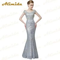 Alimida Evening Dress Long 2016 Major Beading O-Neck Crystal Sequined Mermaid Prom Dresses Robe De Soiree Custom Made