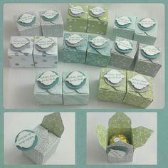 Hallo zusammen,   für meinen Workshop neulich habe ich für die Mädels kleine Boxen gebastelt. In jeder kleinen Box war eine Ferrero Roch...