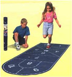 This would be fun outside with sidewalk chalk for a summer party.    Hopscotch Mat Fun and Function | handmade wooden toys hard to find nostalgia board and lawn games ...