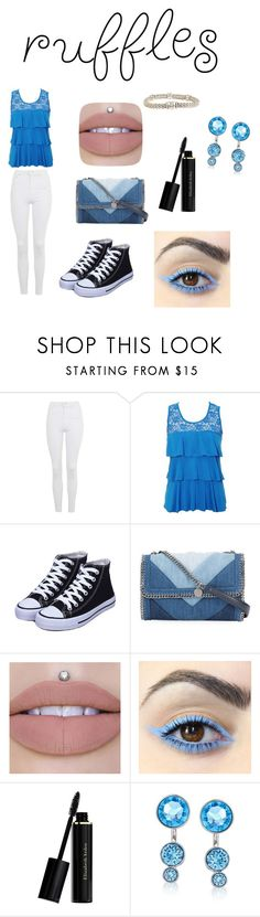 """Ruffles top"" by mashtonshipjalex on Polyvore featuring Topshop, STELLA McCARTNEY, Elizabeth Arden, Swarovski, Lagos, contest, girly, clothes and ruffles"