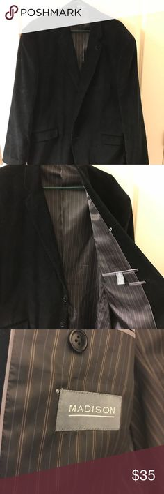 Men's Black Velvet Sportcoat Madison brand men's black velvet jacket. Size 50 R. Worn half a dozen times. Have lost weight and it just doesn't fit right anymore. In excellent condition. Non smoking home.   Black Velvet - 50R - Sportcoat Madison Suits & Blazers Sport Coats & Blazers