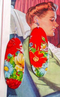 Large Oval Red MultiFlower Earrings by BeehiveHooksandHoops, $40.00