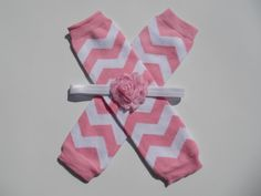 Pink Chevron Legwarmer and Headband Set Baby by LauraBethCreations, $8.50