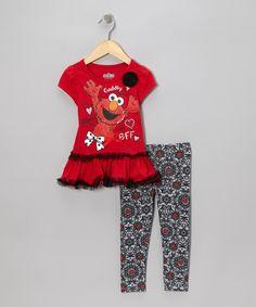 Children s Apparel Network Red   Gray Skirted Elmo Tee   Leggings - Infant 4916c097f657